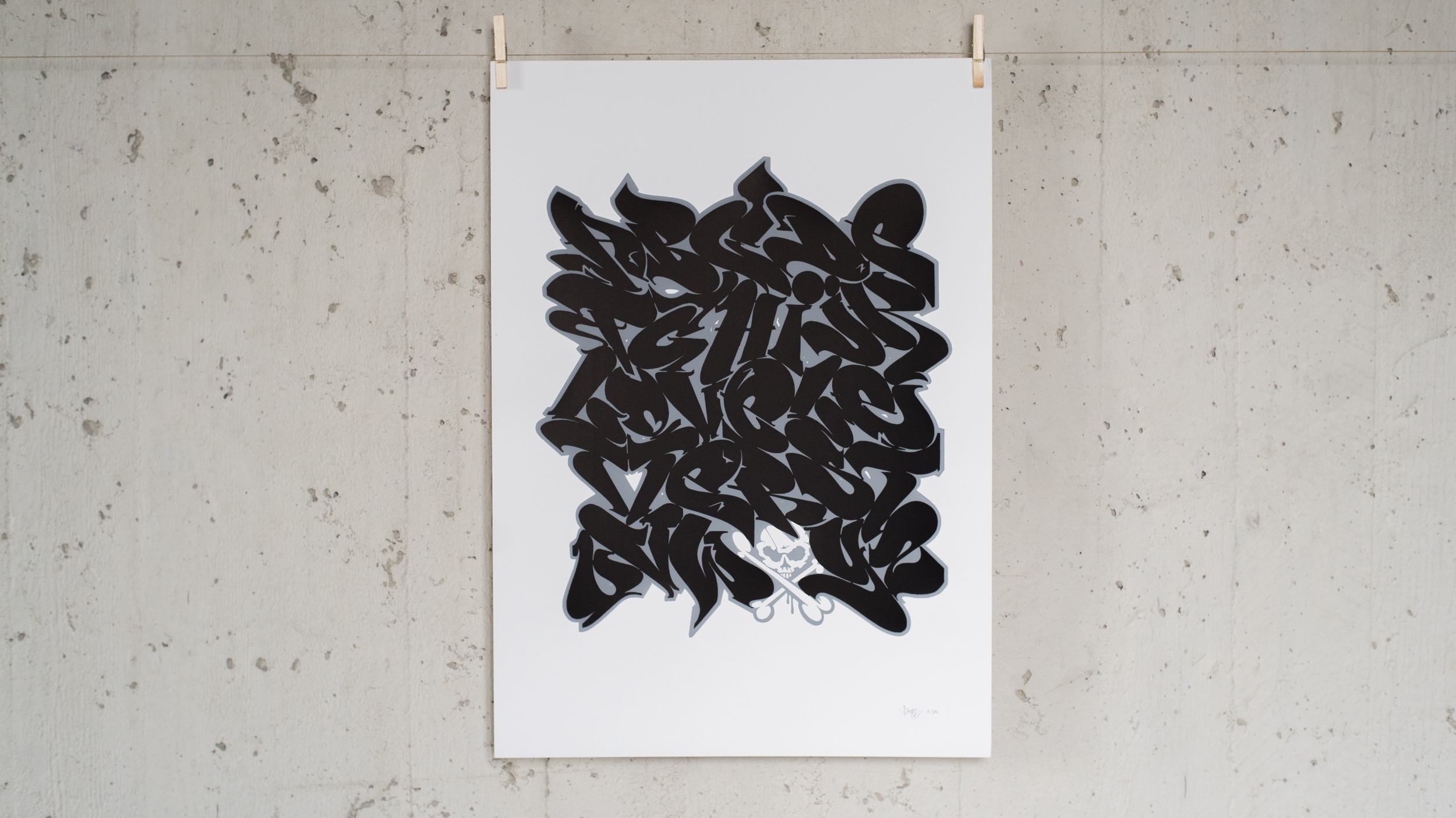A work by Does - Print alphabet black