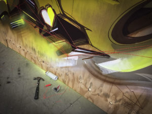 Detail progress mural wood 15 sittard the netherlands yellow 3
