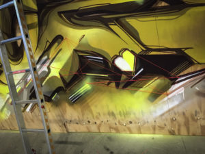 Detail progress mural wood 15 sittard the netherlands yellow