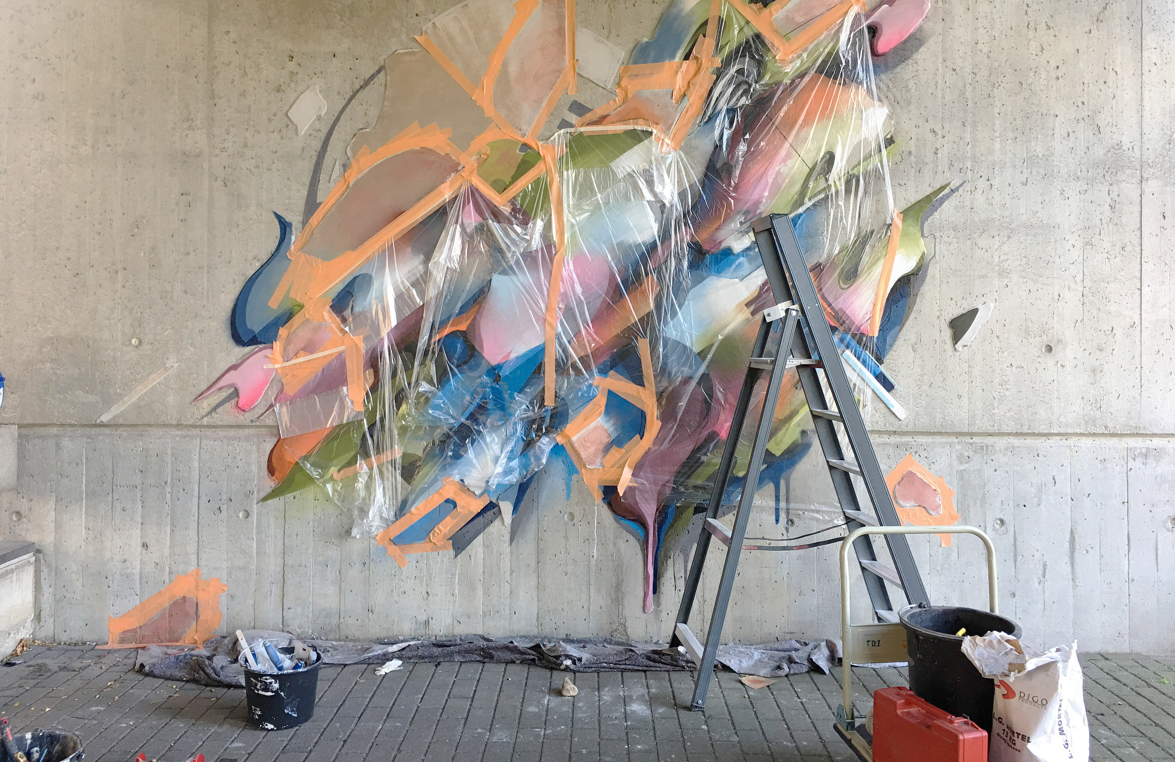 A work by Does - Mural Lente heerlen the netherlands carbon cement 8