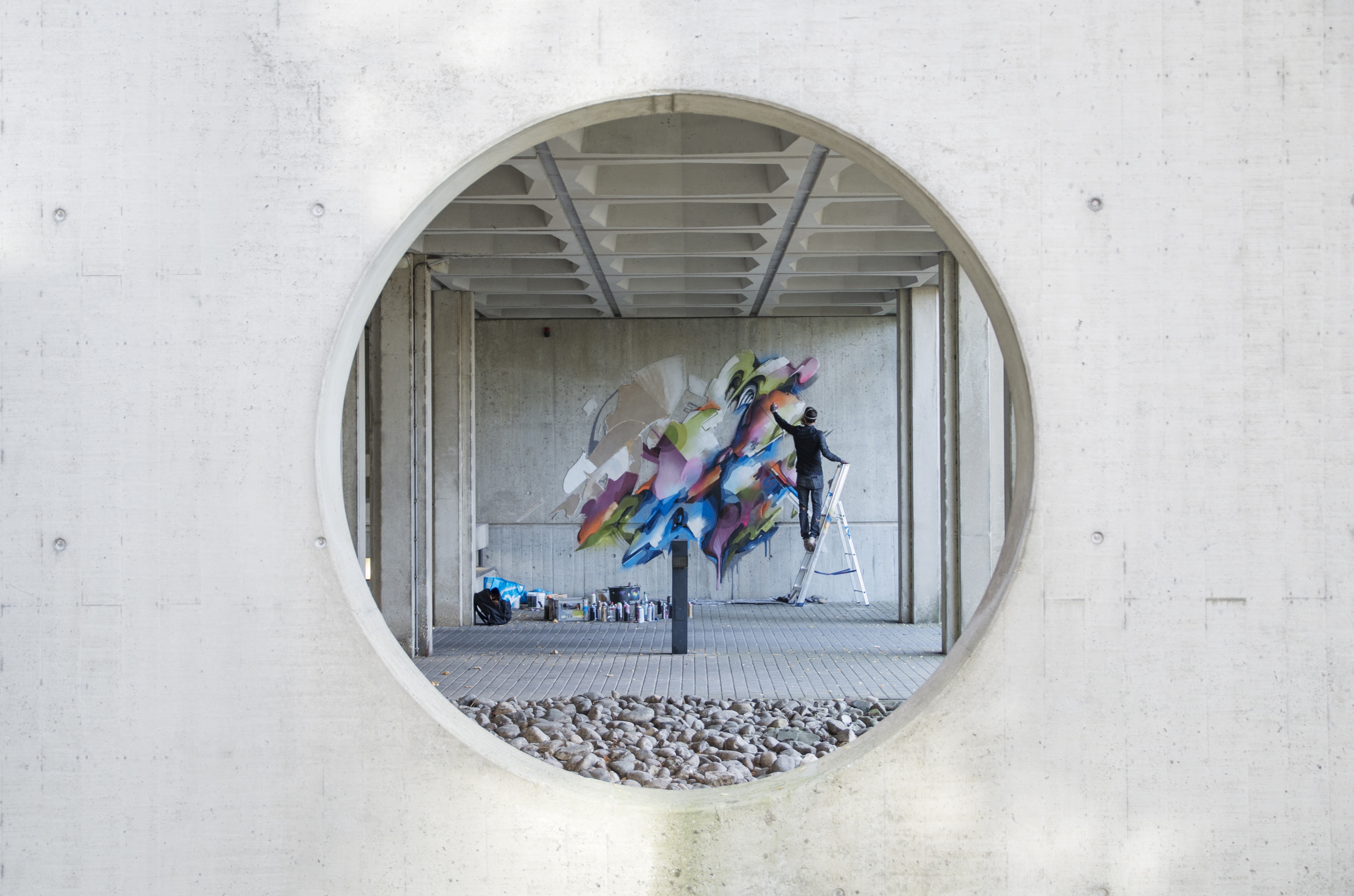 A work by Does - Mural Lente heerlen the netherlands carbon cement