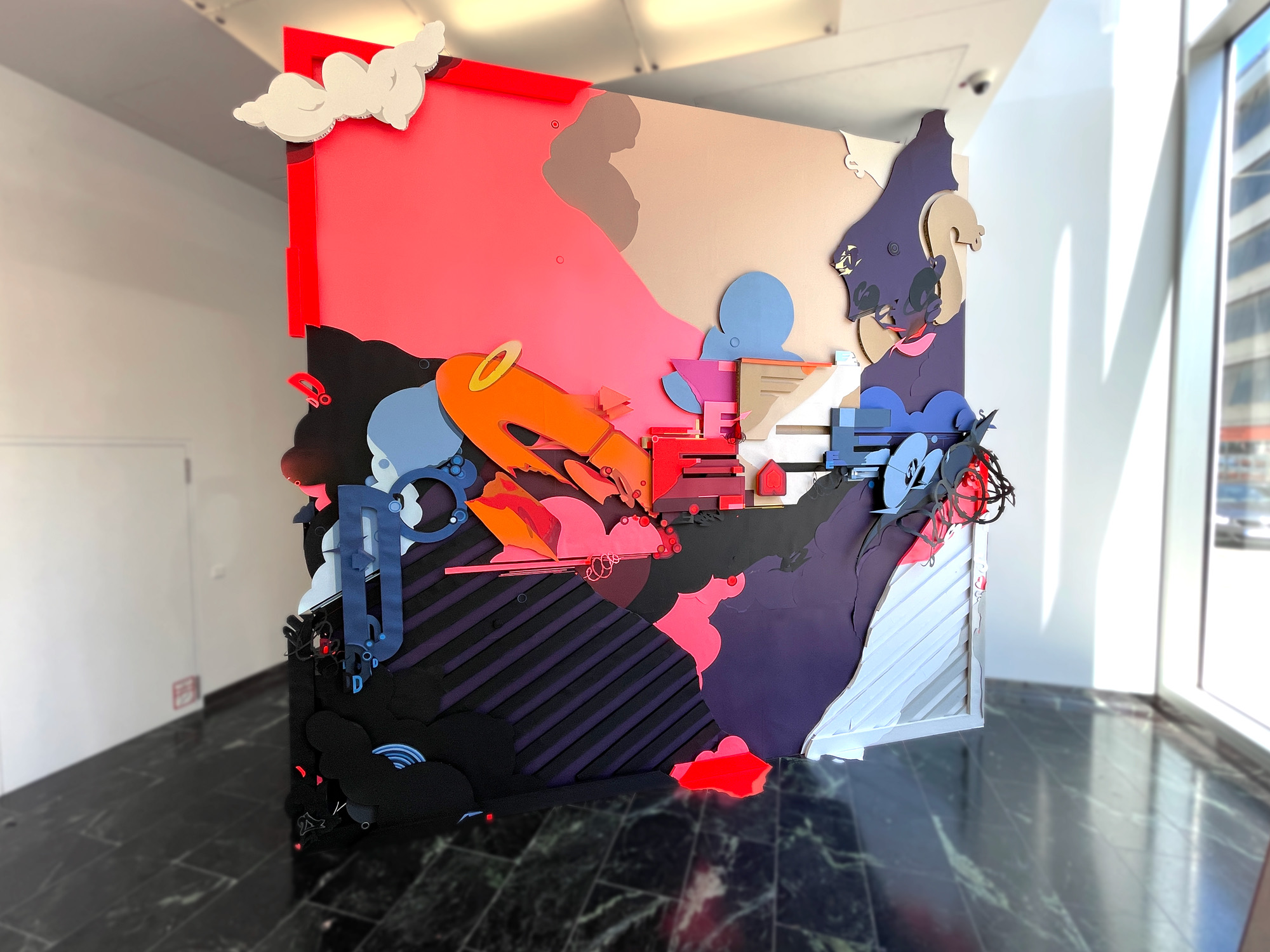 A work by Does - Final Collage mural Munich 2021